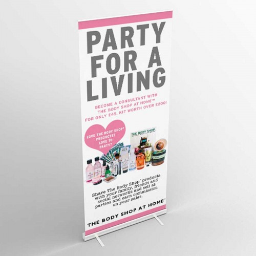 Body Shop Party For A Living Roll Up Banner