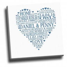 Words In A Heart Shape Canvas